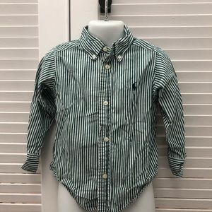 Ralph Lauren green and white striped button down